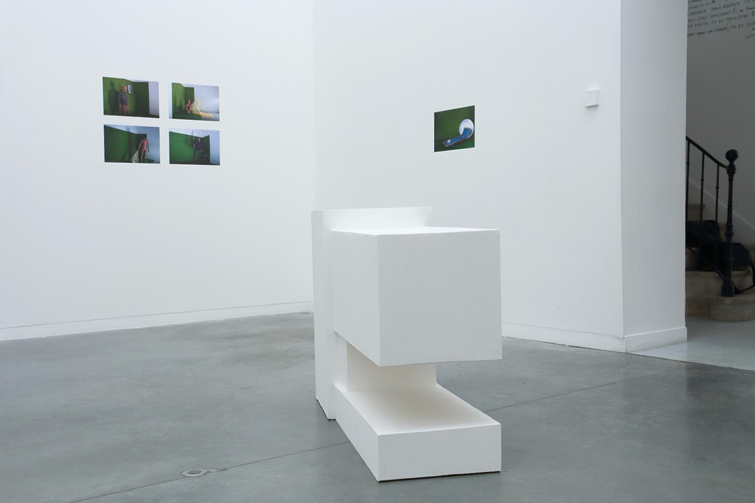 Structure de Jérémy Liron (1er plan) Photographies de Emma Charrin et Olivier Muller (2ème plan) Exposition IMMERSION au CACL - mai 2015